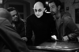 Mark Strong as Nosferatu and Petr Vanek as Fonso at the bar in Nosferatu In Love