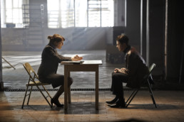 Sarah Alexander as Zoe meets with Daniel Rigby as Chris in a warehouse in Undercover