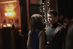Daniel Rigby as Chris and Yasmin Akram as Lara at a party in Undercover