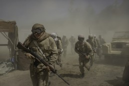 Sergeant Baxter played by Chris Reilly leads a mission into the desert in The Last Post